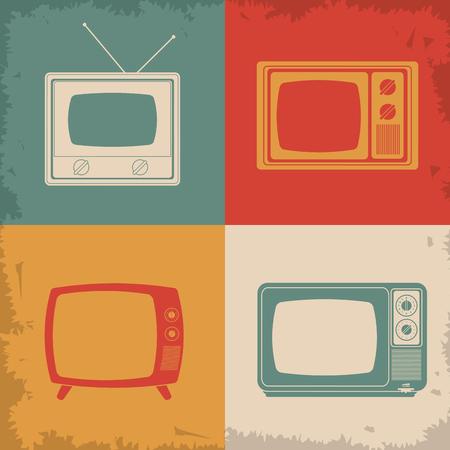 ver tv: Retro y diseño Concepto de televisión de edad, ilustración vectorial eps 10 gráfico.