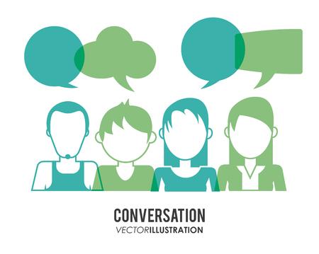 personas comunicandose: Concepto Conversación con el diseño de los iconos de la burbuja, ilustración vectorial eps 10 gráfico. Vectores