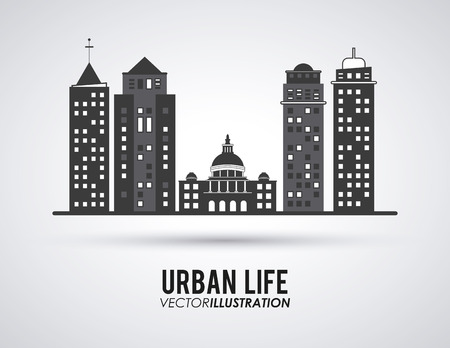 office scene: Urban life concept with architecture icons design, vector illustration 10 eps graphic.