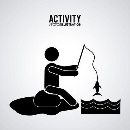 recreational fishermen: Activity concept with pictogram design, vector illustration 10 eps graphic. Illustration