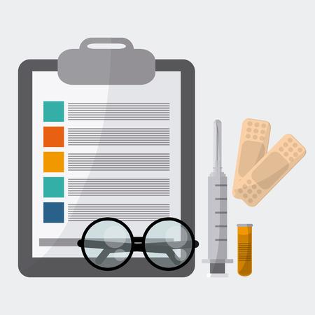 historia clinica: el concepto del cuidado médico con el diseño de iconos de la medicina, la ilustración vectorial 10 EPS gráfico. Vectores