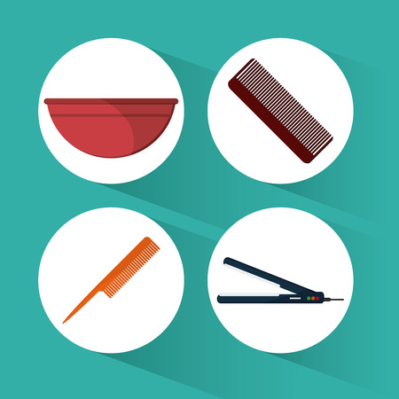 hairstylist: Hairdresser concept with salon  icons design