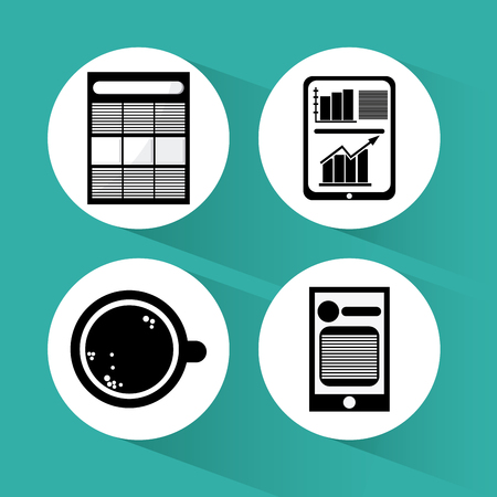 technology symbols metaphors: strategy concept  with office icons design