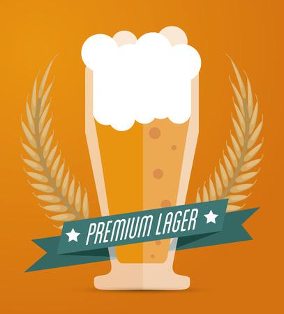 fresh brewed: Beer concept with her own glass design, vector illustration  Illustration
