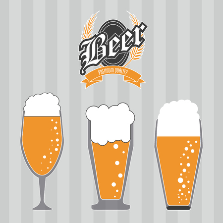 brewed: Beer concept with her own glass design, vector illustration  Illustration