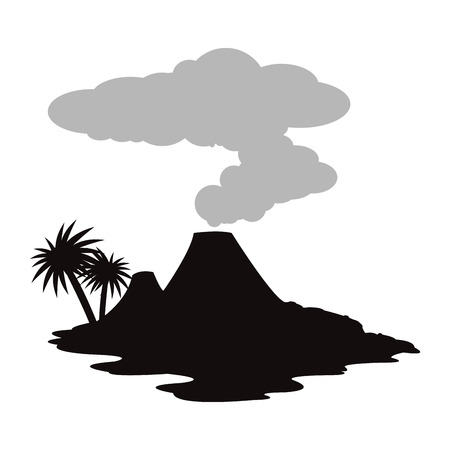 nature concept with volcano design, vector illustration 10 eps graphic.
