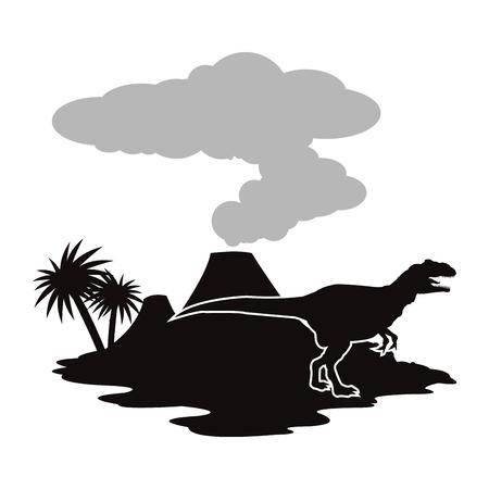 Concepto prehistórica con los dinosaurios diseño, ilustración vectorial eps 10 gráfico. Foto de archivo - 51027134