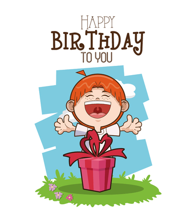 surprise party: Happy birthday concept with cartoon icon design, vector illustration 10 eps graphic.