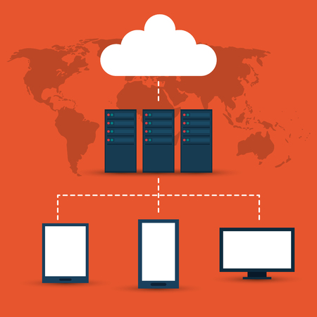 computer data: Data center concept with technology icons design, vector illustration 10 eps graphic.