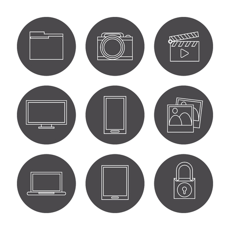 secure files: Data center concept with technology icons design, vector illustration 10 eps graphic.