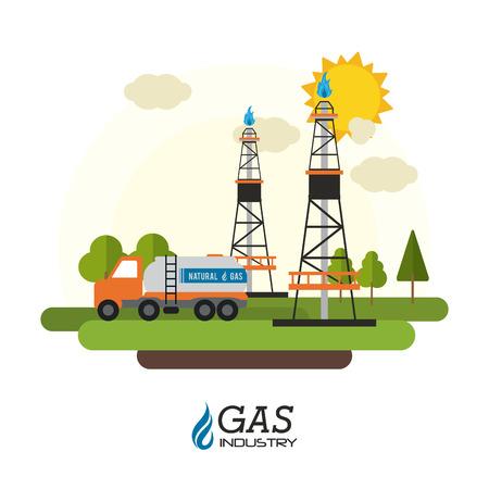 Erdgas-Konzept mit Industrie-Ikonen Design, Vektor-Illustration 10 EPS-Grafik.