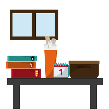 place of employment: Office design  with books icon design, vector illustration 10 eps graphic.