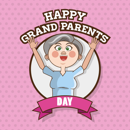 older woman smiling: Grandparents concept with old people design, vector illustration 10 eps graphic.