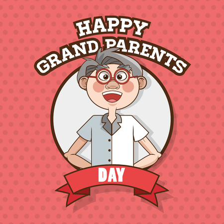 man standing alone: Grandparents concept with old people design, vector illustration 10 eps graphic.