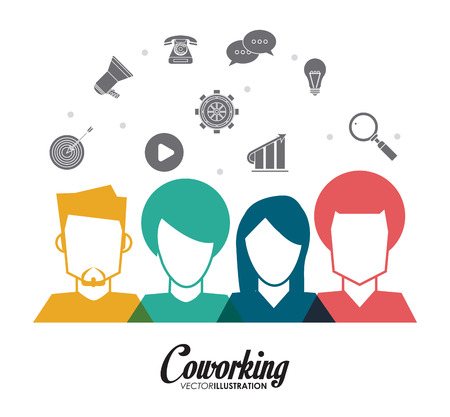 collaborative: Coworking concept with teamwork icons design, vector illustration 10 eps graphic. Illustration