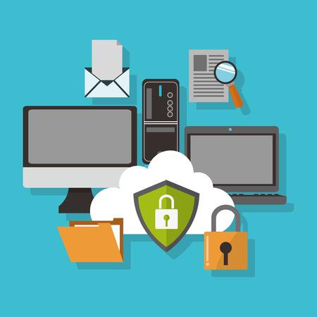 Koncepcja Cyber z symbolem bezpieczeństwa, ilustracji wektorowych 10 eps graficznego.