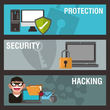 Cyber concept met beveiliging ontwerp, vector illustratie 10 eps grafische. Vector Illustratie