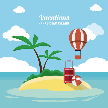 summertime: Vacations concept with summer icons design, vector illustration 10 eps graphic.