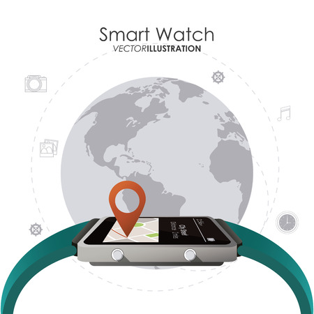 gps device: Wearable technology concept with watch icons design