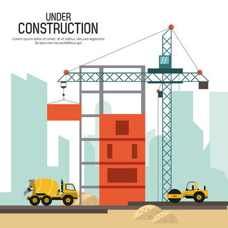 concrete construction: Under construction concept with tools icon design