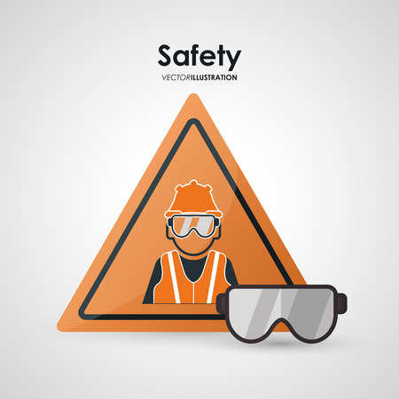 warning vest: Safety concept with work icons design, vector illustration
