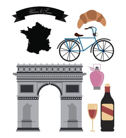 Francia concepto con el diseño de iconos de la cultura, ilustración vectorial eps 10 gráfico.