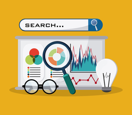 page rank: SEO concept with searching icons design, vector illustration 10 eps graphic.