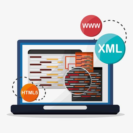 business website: Developer concept with technology icons design, vector illustration Illustration