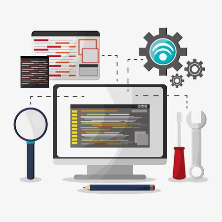 web site: Developer concept with technology icons design, vector illustration Illustration