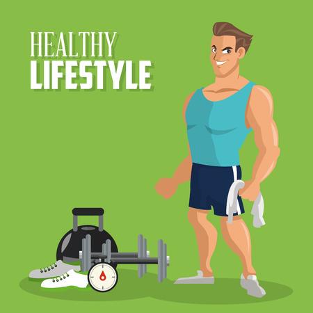 cuerpo hombre: concepto de estilo de vida saludable con el dise�o de iconos de fitness, ilustraci�n vectorial eps 10 gr�fico.