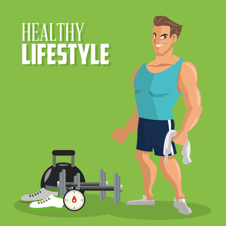 muscle boy: Healthy lifestyle  concept with fitness icon design, vector illustration 10 eps graphic.