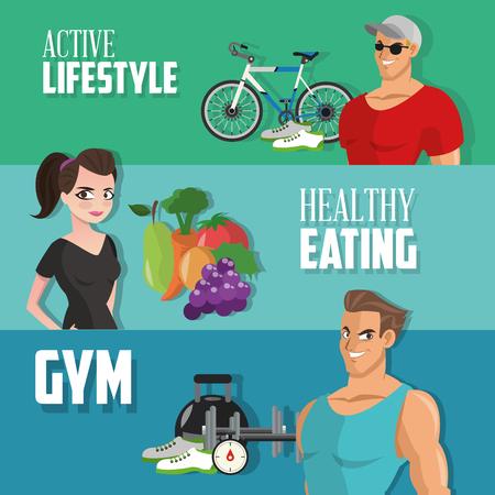 concept de mode de vie sain avec l'icône de fitness conception, illustration vectorielle 10 eps graphique.