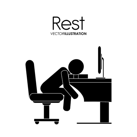 person computer: Rest concept with tired icon design, vector illustration 10 eps graphic.