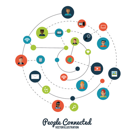People concept with social network icon design