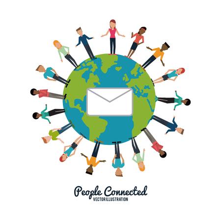 personas comunicandose: Concepto de las personas con el diseño de iconos red social Vectores