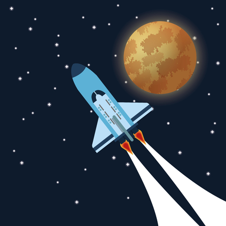 satellite launch: space concept with icon design, vector illustration 10 eps graphic.