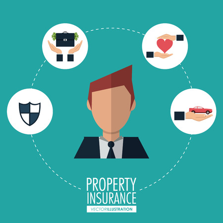 secured property: Insurance concept with protection icon design, vector illustration 10 eps graphic.