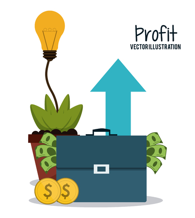 economic growth: Profit concept with financial item icon design, vector illustration 10 eps graphic.