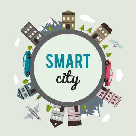 Smart city concept with building icon design, vector illustration 10 eps graphic. Stock Illustratie
