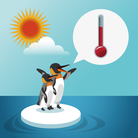 pinguin: Global warming concept with icon design, vector illustration 10 eps graphic. Illustration