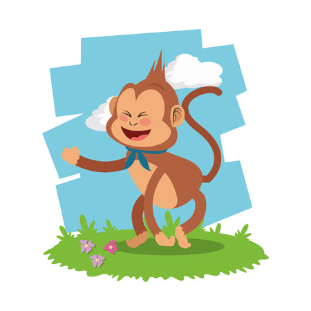 animals frame: Monkey  concept with icon design, vector illustration 10 eps graphic.