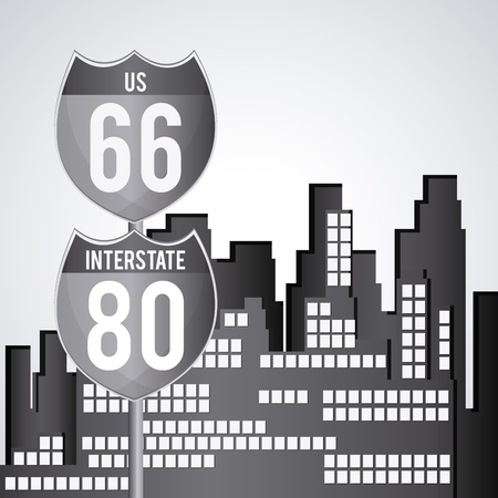interstate 80: Road sign concept with icon design, vector illustration