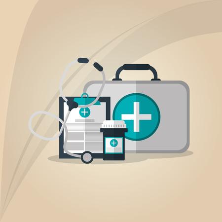 historia clinica: el concepto del cuidado médico con el diseño de iconos