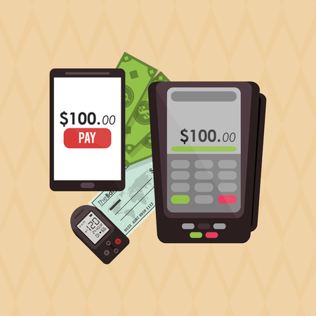 paying bills online: Shopping online  concept with icon design