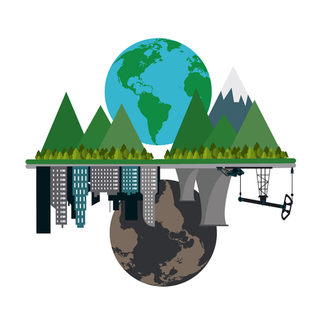 Global warming concept with icon design