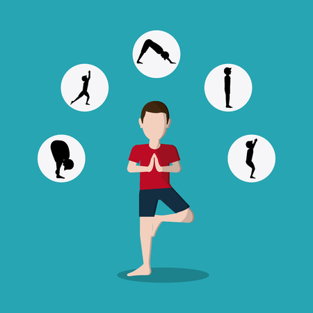 poses: Yoga concept with people icon design, vector illustration 10 eps graphic. Illustration