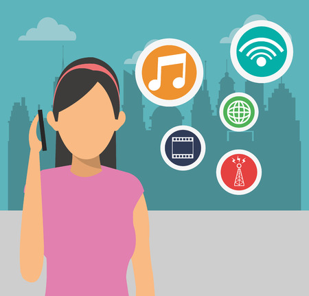 cyber girl: Smart city concept with icon design, vector illustration 10 eps graphic.