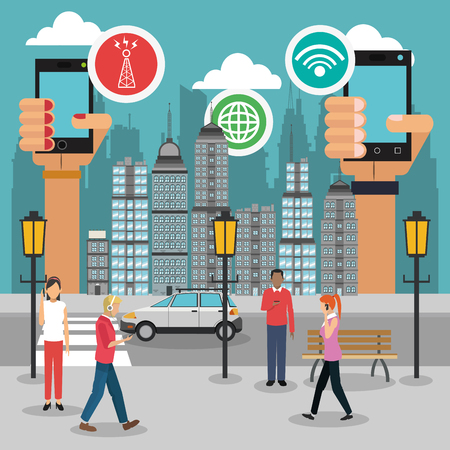 smart woman: Smart city concept with icon design, vector illustration 10 eps graphic.