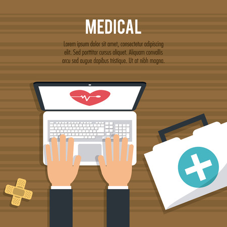 laptop icon: Medical care concept with icon design, vector illustration 10 eps graphic