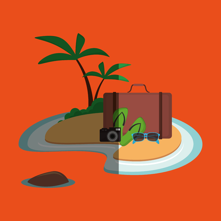 sandal tree: Vacation concept with icon design, vector illustration 10 eps graphic